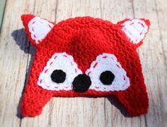 Crochet Fox Beanie Animal Hat Baby Shower Newborn by LoveStringXO