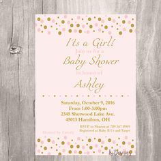 Blush and Gold Glitter Baby Shower Invitation by IsiDesigns