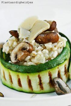 Plantaardigheidjes: (Truffel)risotto met courgette, champignons en Vegusto No Muh