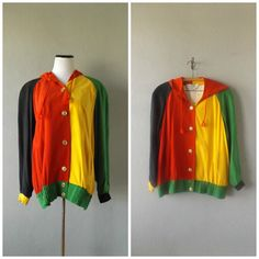 9b20ef0b4d133 Color Block 90s Bomber Jacket Vintage Hip Hop Cross Colors Inspired Coat  Womens Medium Silk Hoodie 1990s African Rasta Color Hipster Jackets