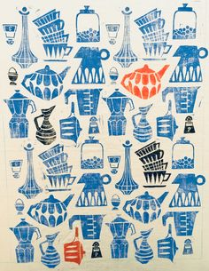 Tea Towel Design, Kitchenware/Wunderwuz Tea Towels, Kitchenware, Screen Printing, Mid Century, Stamp, Illustrations, Patterns, Design, Silk Screen Printing