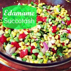 Great summer dish with a twist on traditional succotash! Try edamame succotash for a side or an appetizer.