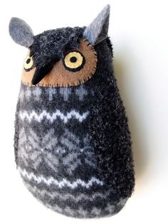 Stuffed owl doll made from repurposed sweaters and some felt.  Love this!