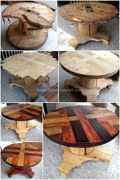 These impressive pictures of the pallet wood table given below is provided you step by step instructions that how easily you can cra… Pallet Furniture Plans, Pallet Furniture Designs, Rustic Furniture, Diy Furniture, Antique Furniture, Furniture Projects, Wood Spool Furniture, Luxury Furniture, Modern Furniture