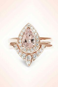 Rose gold wedding engagement ring set morganite pear cut shaped pavè bridal
