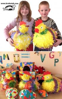 Papier mache hens – directly from Lithuania Preschool Crafts, Diy And Crafts, Crafts For Kids, Easter Art, Easter Crafts, Spring Activities, Activities For Kids, Paper Mache Animals, Animal Art Projects