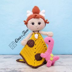 Cyra the Cavegirl and Dixie the Dino Blanket - LayDIY Crochet Security Blanket, Crochet Lovey, Baby Security Blanket, Lovey Blanket, Crochet Bebe, Crochet Blanket Patterns, Crochet Toys, Crochet Projects, Sewing Projects