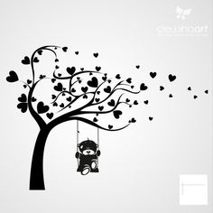 23 new ideas tree silhouette stencil in love Doodle Drawings, Doodle Art, Wall Painting Decor, Wall Art, 3d Quilling, Tattoos For Daughters, Tree Silhouette, Silhouette Projects, Tree Art