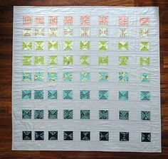Modern Quilt, Art Quilt, Wall Quilt, Beach Glass Colors, Grey Background, Coasting pattern, Neptune fabrics. $218.00, via Etsy.