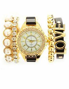 Rhinestone Watch & Bracelets, 5-Piece Set: Charlotte Russe