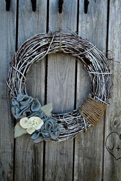 Grapevine winter wreath