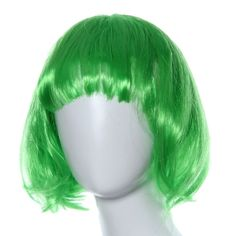 """Shensee Masquerade Small Roll Bang Short Straight BOBO Hair Wig (green). Material:PET. Length:About29cm/11.4"""";MIN head circumference:46cm/18.1"""". Wig hair using environmental protection material. There is elastic,suitable for almost all kinds of size head circumference. Pls Note:Different computer have different monitor,the color may be a little difference."""