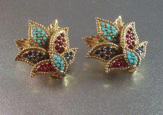 Vintage Ciner Rhinestone Earrings Jeweled to by LynnHislopJewels