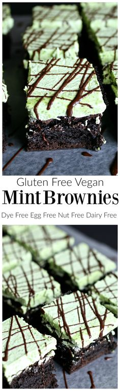 Gluten Free Mint Brownies (Vegan egg free)- Indulge in a fudgy mint chocolate brownie! Naturally colored green.