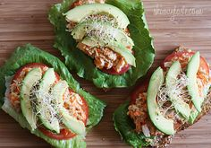 Open Faced Tuna Sandwich with Avocado | Skinnytaste - I substitute with chicken because I'm allergic to tuna.  Still tastes great