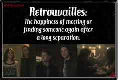 Vocabulary with a SPN twist | #SPNandVocab | Retrouvailles: ('rhoo•trooh•vahy ) The happiness of meeting or finding someone again after a long separation.