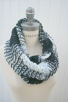 Knit Scarf  Multicolor Infinify Scarf  Hand Knit Scarves by PIYOYO, $24.99