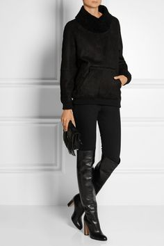Cowl neck sweater, leggings, OTK boots - perfect fall & winter look!