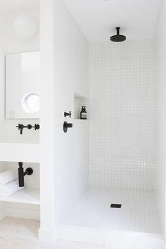 black white shower