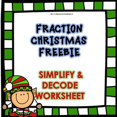 Elementary Weather Worksheets Word Christmas Division Worksheet  Christmas Math Worksheets  Covalent Compounds Worksheet with Pronouns Worksheets For Grade 1 Pdf Christmas Math Freebie Fractions Simplify And Decode Worksheet Students  Will Need To Simplify The Fractions And Then Use Their Simplified Answers  To Help Free Printable Worksheets For Preschool Excel