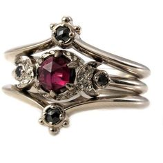 Gothic Victorian Blood Moon Engagement Ring Set With Black Diamond...  ($1,165)