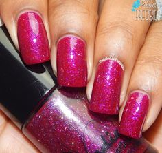 Jindie Nails- ♥ Phone, Keys, Polish, Check! ♥ (Llarowe Exclusive)... a beautiful magenta jelly polish with light pink, purple, and silver microglitter. The color flashes are amazing!