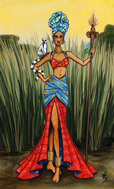 Lydia Snowden Illustration. Fashion illustration. African Queen.