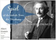 Poster mit einem Zitat/Spruch von Albert Einstein zum Spiel. Gehört zu einer Serie mit Zitaten zum Spiel des Kindes.