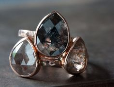 91a89811954a08 Black Diamond Ring in 14kt Rose Gold Rose Gold Engagement, Perfect  Engagement Ring, Rose