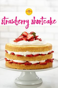 This decadent three-layer strawberry shortcake dessert is just waiting for fresh summer strawberries. Baking Hack: coating the pans with sugar creates a crunchy edge on this tender pound cake.
