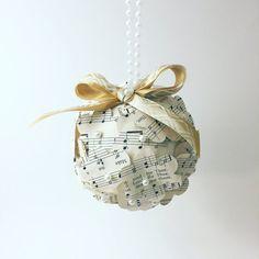 Sheet music ornament - Music theme decoration - Gift for music teacher - Gift for piano teacher - Gift for a musician - Christmas Gift idea