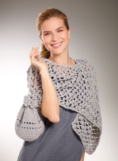 Be ready for formal holiday outings with this sparkly shawl and bag set made with Vanna's Glamour. Picot stitches make this set lovely to wear and fun to crochet.