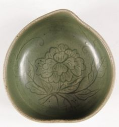 "KOREAN CELADON - Peach-shaped Brush Washer in celadon glaze with scraffito decoration of peony, 2"" x 4 1/2"" diam."
