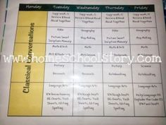 Simple Lesson Plan chart - use something like this to organize your homeschool lesson plans.  Minimal time needed!  This plan stays the same all year!  From Jaime at www.homeschooolstory.com