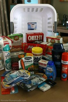 Ultimate College Care Package - Hoosier Homemade Preparing your kids for college with Schick Razors High School Graduation Gifts, Graduation Diy, Grad Gifts, Graduation Presents, Graduation Gift Baskets, Graduation Cookies, Graduation Parties, Graduation Decorations, College Gift Baskets