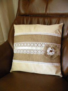 Burlap and Lace Pillow cover, Burlap Throw Pillow, Burlap pillow, Pillow cover…