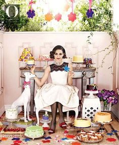 Love this spread from Oprah's magazine of Emmy Rossum!  This photo is amazing--LOVE the different cakes and treats :) Perfect whimsy!