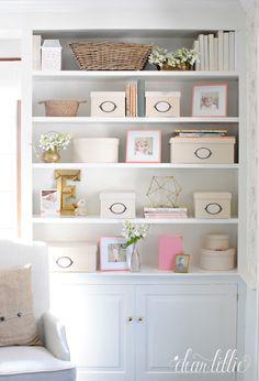 Dear Lillie: Tempaper in Everly's Room (Bluestone Hill) Bookcase Shelves, Shelf, Hangout Room, Dear Lillie, Interior Decorating, Interior Design, Decorating Ideas, Home Office, Family Room
