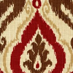 Raja Spice Red and Brown Ikat Linen Look Fabric
