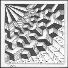 Zentangle Tile with tangle Molitoriz