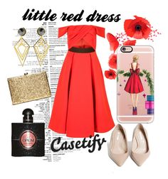 """Put the SPOTLIGHT on me "" by casetify ❤ liked on Polyvore featuring self-portrait, Zara, Sarah Magid, Yves Saint Laurent, Casetify, gold, red, ootn and glam"