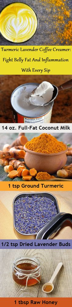 A combination of ground turmeric, coconut milk and lavender can be a soothing coffee creamer that is delicious both hot and cold. Coconut Oil Coffee, Coconut Milk, Almond Milk, Healthy Coffee Creamer, Healthy Liver, Healthy Juices, Healthy Habits, Healthy Eating, Turmeric Drink