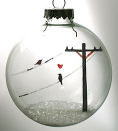 Glass Birds In Love Holiday Ornament by Glak Love