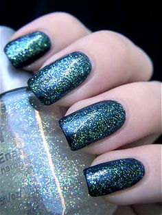 NK Mystical over NK Charcoal Navy by I Drink Nail Polish.
