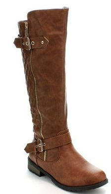 Quilted Zipper Accent Riding Boots