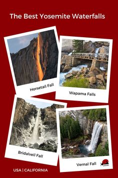 One of the best things to do at Yosemite National Park is chase Yosemite waterfalls. Visiting the most spectacular waterfalls at Yosemite National Park includes waterfalls in the Yosemite Valley like Bridalveil Fall, Yosemite Falls, Horsetail Fall, Ribbon Fall, Vernal Fall, and Nevada Fall. Yosemite waterfalls also include Chilnualna Falls in Wawona, Wapama Falls in the Hetch Hetchy Valley, and Waterwheel Falls in Tuolumne Meadows. For the best views enjoy a Yosemite Falls hike. #yosemite