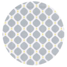 Stof i geometrisk mønster i grå og gul
