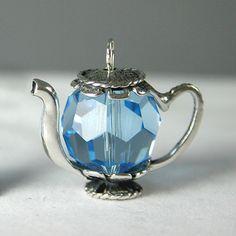 Aquamarine Blue 14mm Crystal Teapot