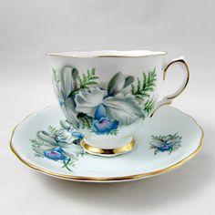 Colclough Blue Orchid Tea Cup y Saucer China de hueso
