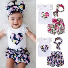 dfa1165ff Girls' Clothing Months) Princess Baby Girl Lace Tops T-Shirt+Floral Shorts  Pants Outfits Set Clothes Uk & Garden